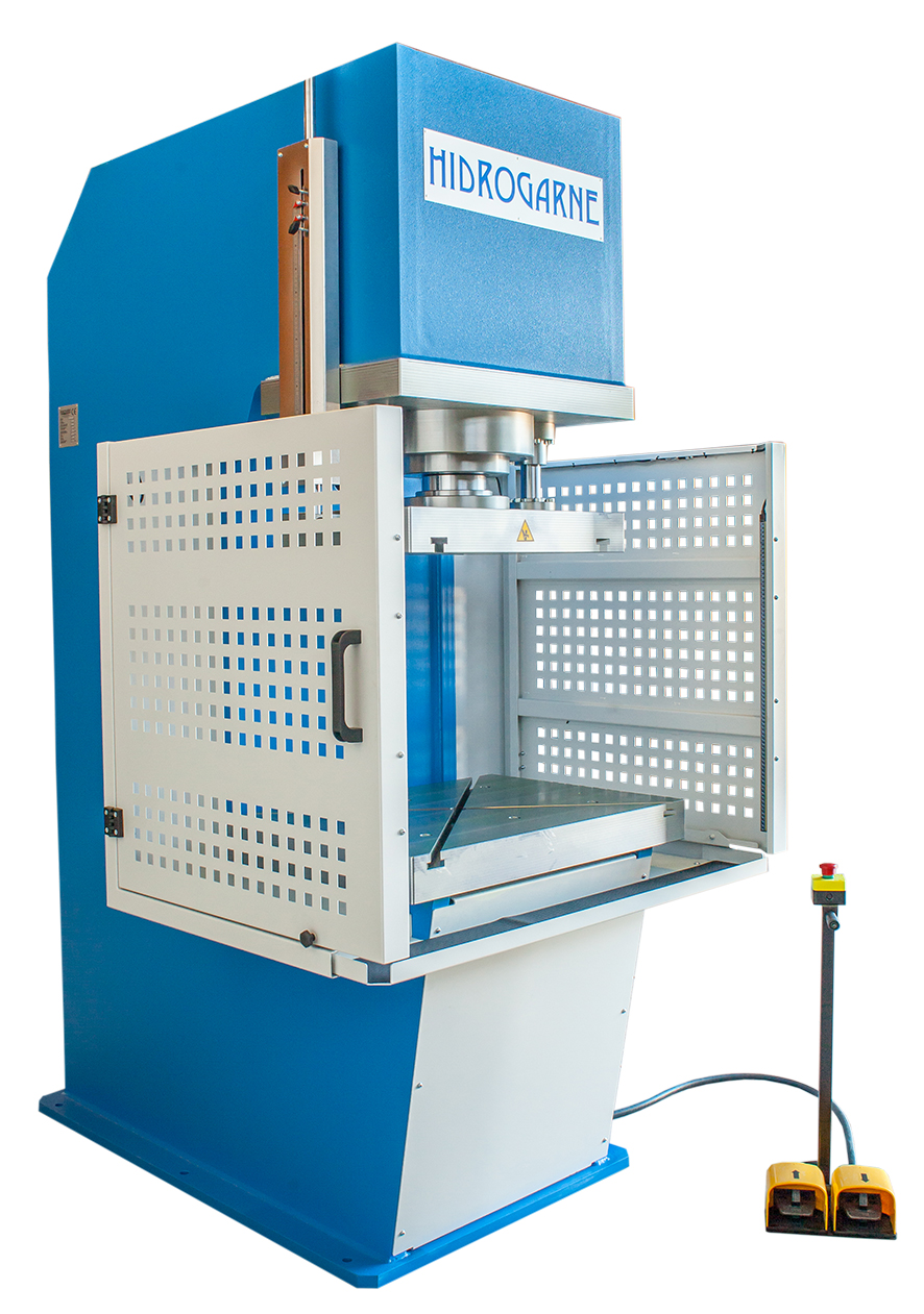 Open front (swan neck, C-frame) motorized hydraulic presses