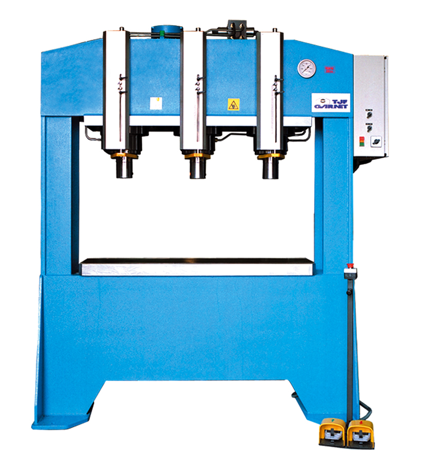 Motorized hydraulic presses with double stanchions and fixed bed type