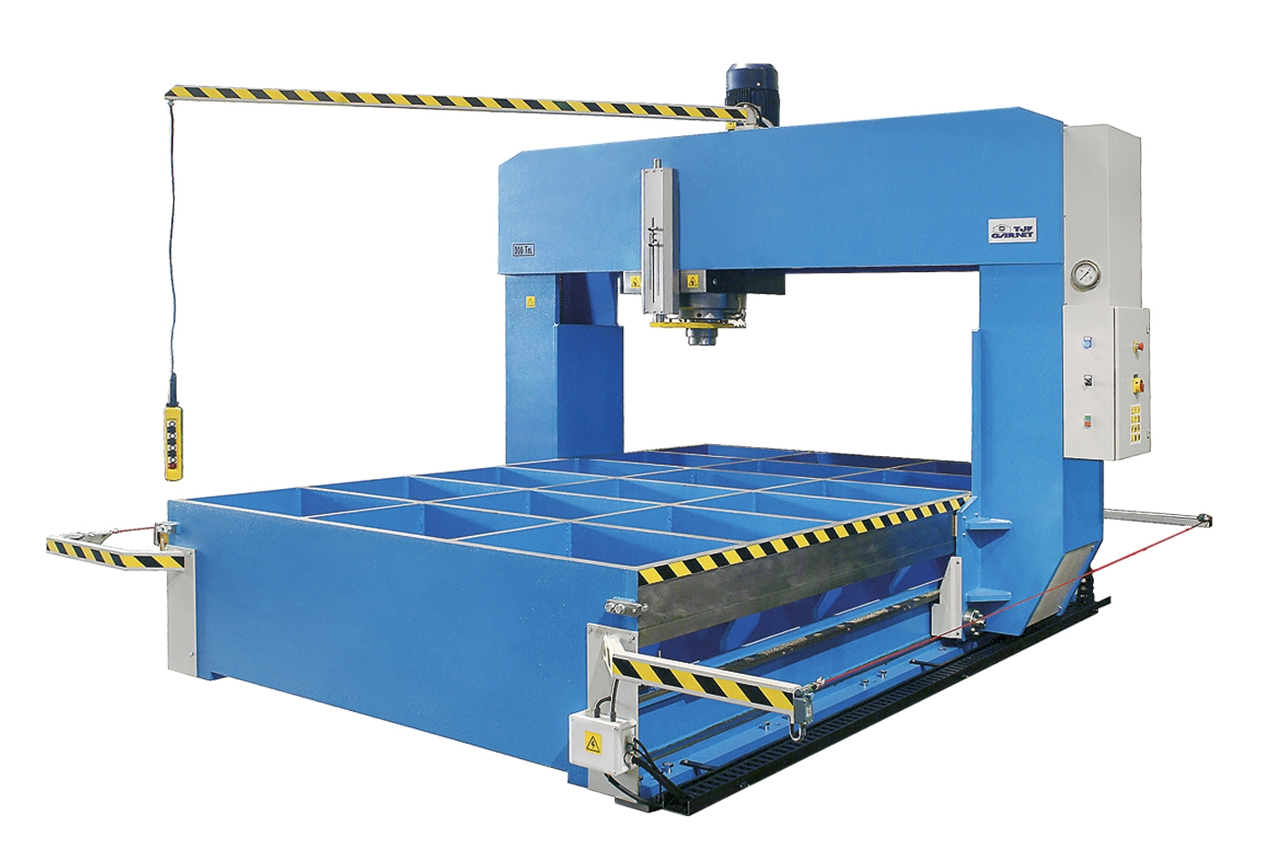 Motorized hydraulic presses with sliding frame and moveable head: T series